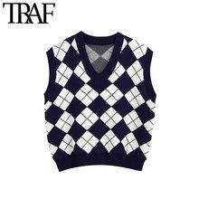 TRAF-suéter tejido tipo chaleco Vintage sin mangas para mujer, chaleco holgado, Top Chic