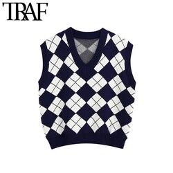 TRAF Women Fashion England Style Argyle Pattern Knitted Vest Sweater Vintage Sleeveless Loose Female Waistcoat Chic Top