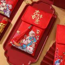 2021 envelopes vermelhos pintados à mão do ano novo primavera festival selado cetim de seda vermelho envelopes casamento vermelho pacote