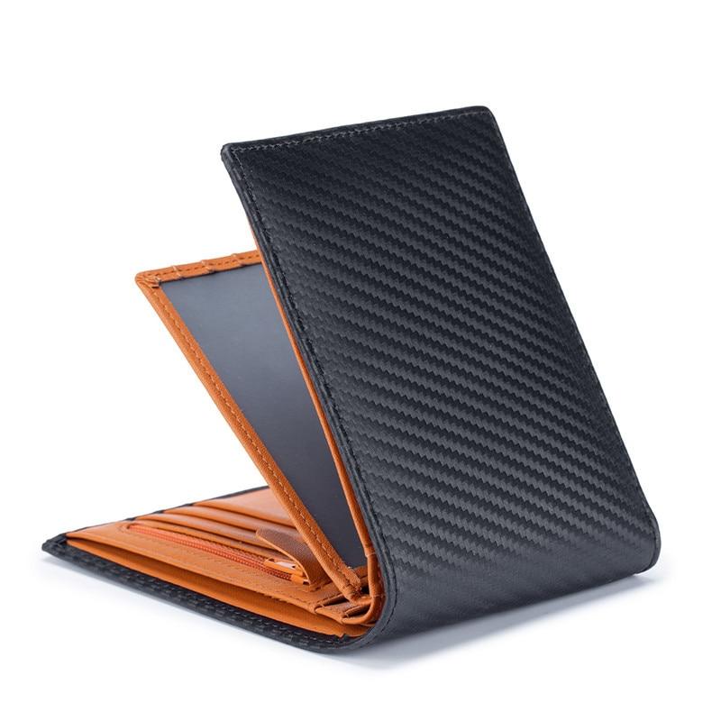 Carbon Fiber Man Short Wallet Japan Style Genuine Leather Men's Wallet Driver License Microfiber Slim Bank Credit Card Holder