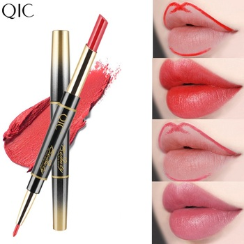 2 in 1 Lip LinerLong-lasting Lipstick Matte Lip Pencil Waterproof Moisturizing Lipsticks Makeup Contour Cosmetics TSLM2