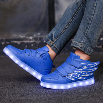 7ipupas New USB charging shoes 25-35 luminous shoes wing led shoes boys&girls fashion trend 7 colors luminous sneakers free shipping led shoes men valentine fashion usb rechargeable light up for adults 7 colors luminous men led shoes