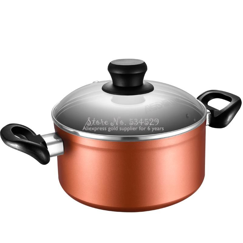 25%Grand 20cm Aluminum AlloySoup Pot With Double Thick Bottom 2 Anti-scald  Handle Non-Stick Sauce Pot With Glass Lid