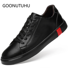 2019 new fashion mens shoes casual genuine leather male flats sneakers white and black big size shoe man platform for men