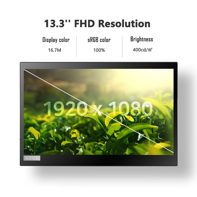 13.3 Inch FHD IPS Touch Screen Portable Monitor 13 inch Lcd Computer Display with HDMI/USB Type-C for Laptop PC Phone Switch PS4 6