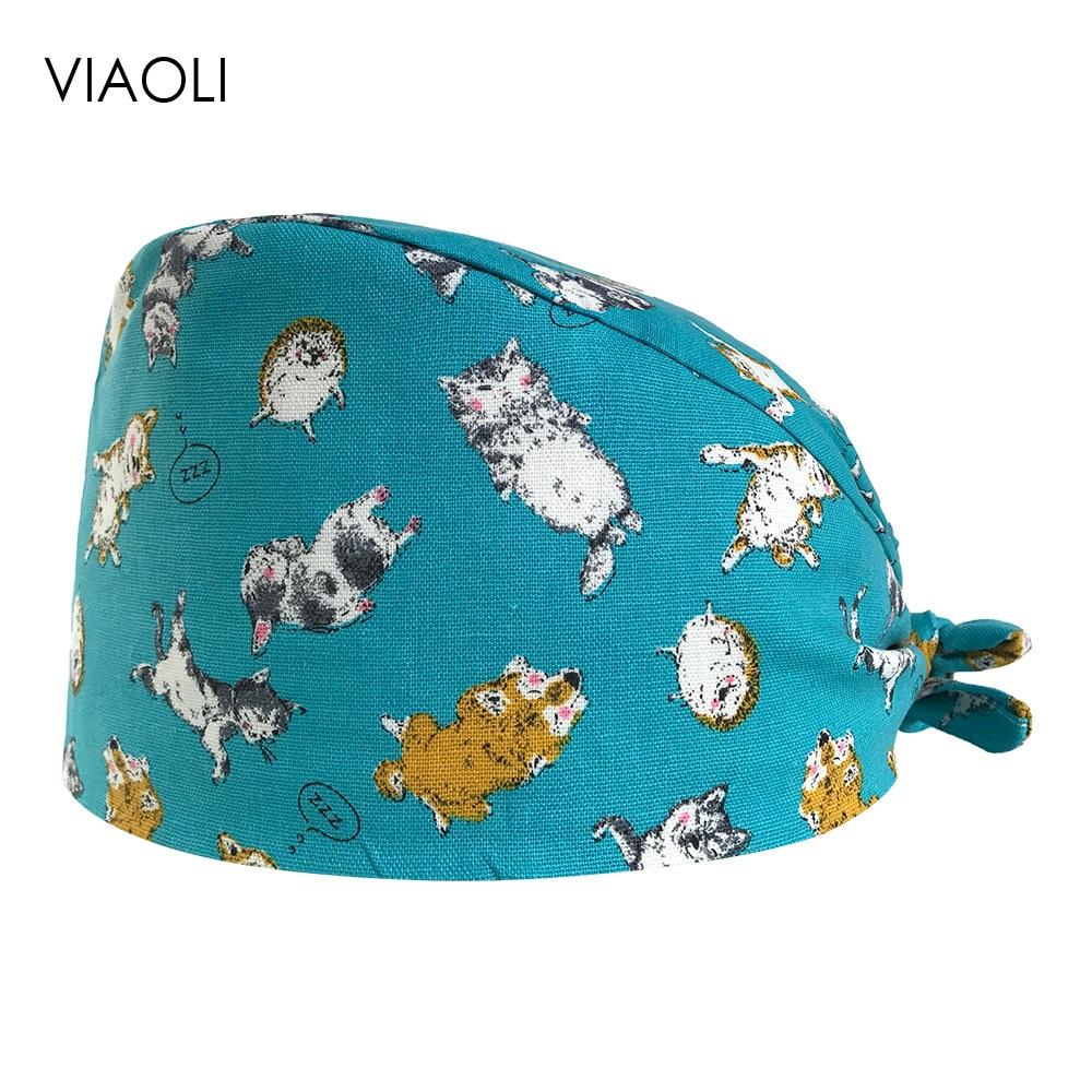 Surgical Caps Medical Dental Salon Male And Female Doctor Nurse Caps Cotton Print Multi-purpose Adjustable Lace Lab Medical Hats