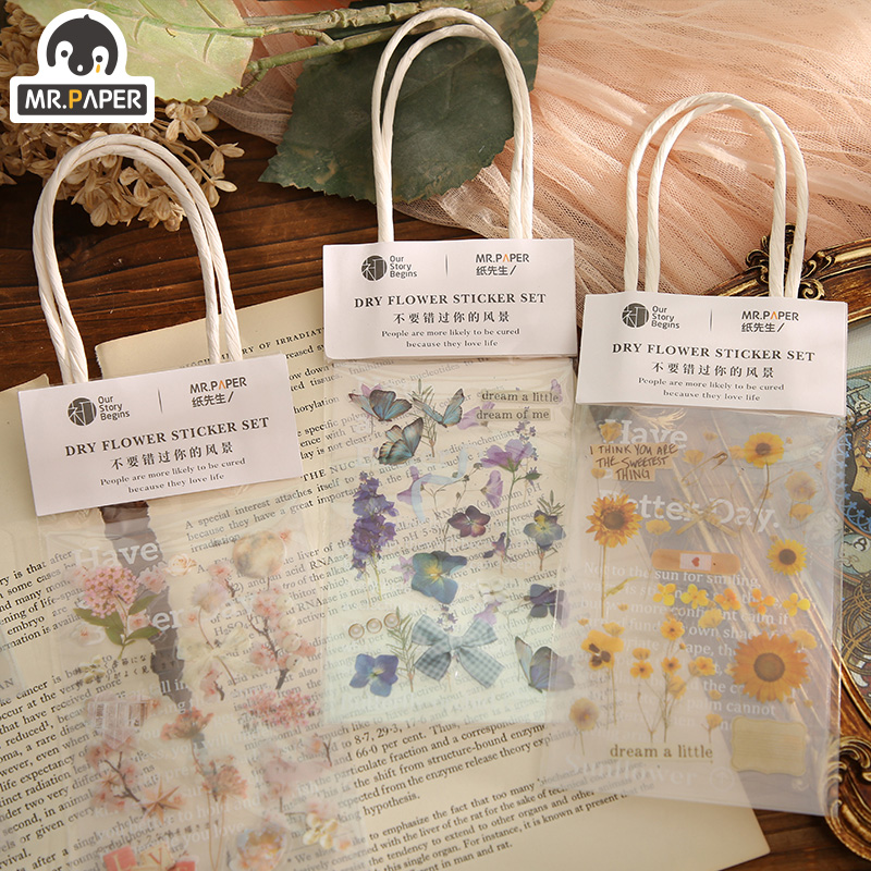 Mr.paper 3pcs Plant Floral PET Stickers Diary Planner Decorative Label Scrapbooking DIY Home Suitcase Children Toy GIft Stickers