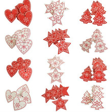 10Pcs DIY New Year Natural Wood Christmas Tree Ornament Pendant Hanging Gifts Christmas Decoration for Home Navidad 2020 Decor