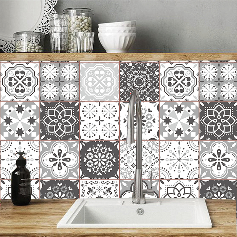 Traditional Tile Transfers Self-Adhesive Wall Sticker Vintage Retro Mosaic Decal