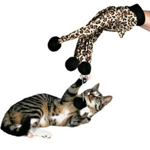 1pc Leopard Print Cat Glove Toy For Interactive Playing Teaser With Ring Chewing Ball Cute Pet Kitten Scratch Toys