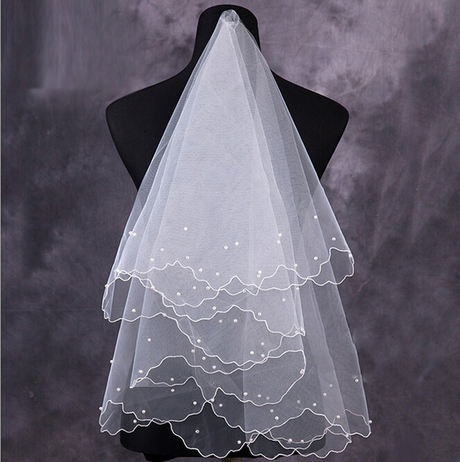 Wedding Veil Long Simple Elegent Tulle White Ivory Two-Layers Bridal Bride Accessories Short Women Veils With Comb Bride Veil