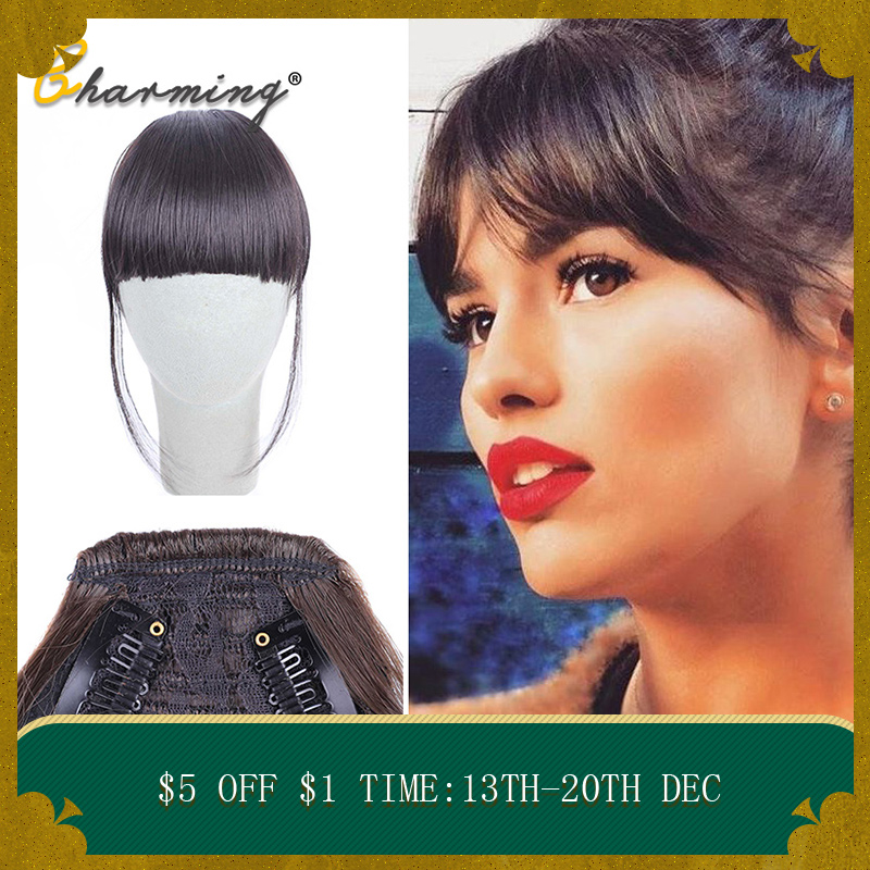 CHARMING Black Brown Blonde Fake Fringe Clip In Bangs Hair Extensions With High Temperature Synthetic Fiber