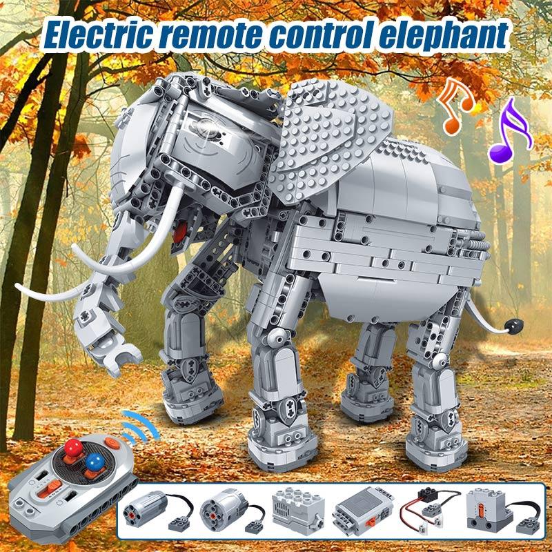 Erbo 1542 Pcs Creative Bouwstenen Fit Lego Technic Rc Afstandsbediening Olifant Dier Elektrische Bricks Speelgoed Voor Kinderen - 2