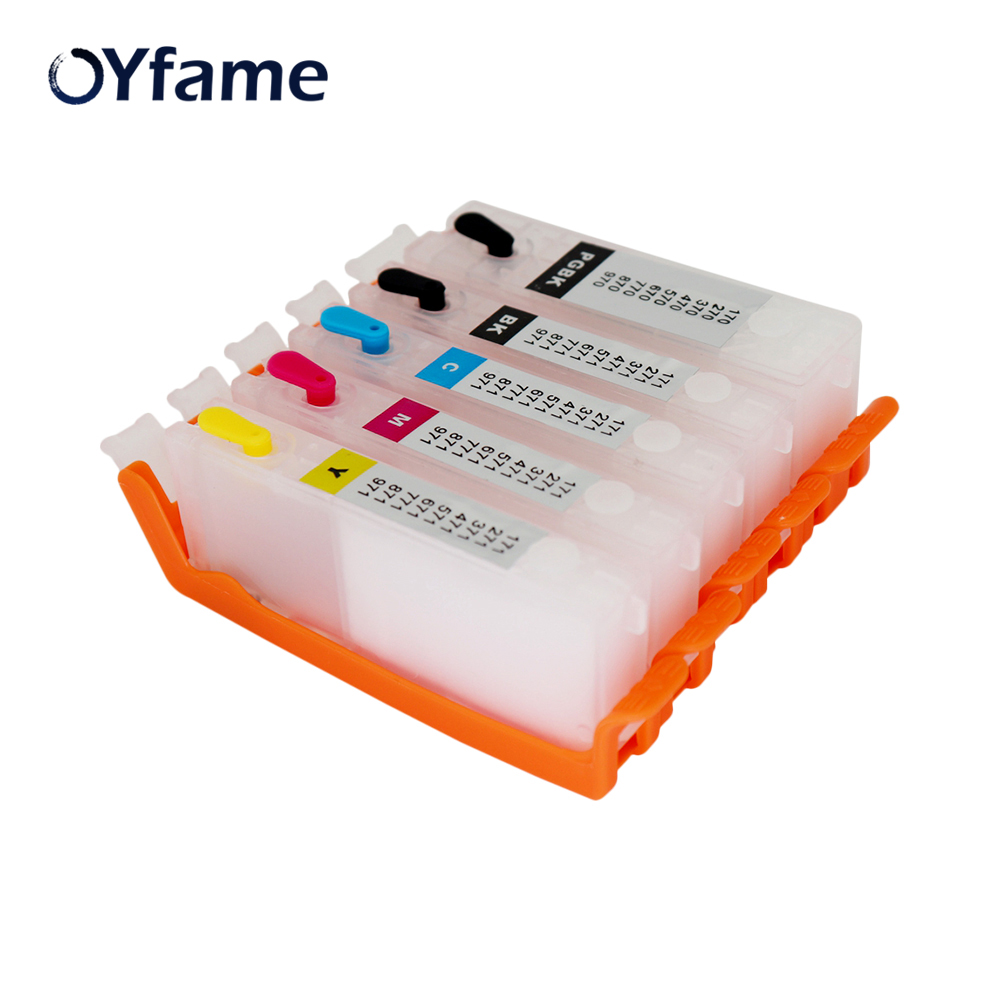 OYfame 5Color <font><b>470</b></font> Cartridge For <font><b>Canon</b></font> <font><b>470</b></font> <font><b>471</b></font> PGI-<font><b>470</b></font> CLI-<font><b>471</b></font> Refillable Cartridge For <font><b>Canon</b></font> MG5740 MG6840 TS5040 TS6040 Printer image