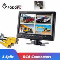 Podofo-Monitor de vigilancia de seguridad para coche, de 9 pulgadas TFT LCD pantalla dividida, Monitor de reposacabezas de seguridad CCTV, 4 conectores RCA, 6 modos