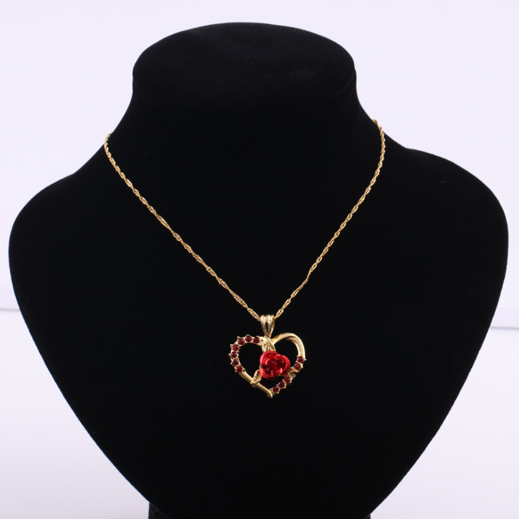 Collier zircon roses rouges pendentif en forme de coeur 5