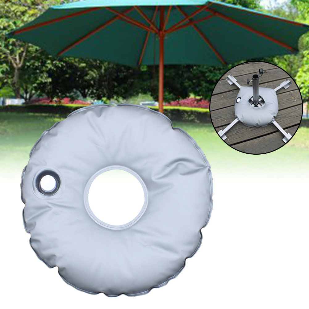 7L Foldable Patio Beach Umbrella Base Tools Grey Outdoor Supplies Filling Flag Stand Water Weight Bag Round Portable Accessories