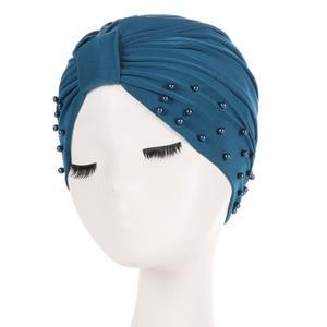 Image 5 - 1PC Solid Women Cotton Beading India Ruffle Turban Elastic Muslim Hat Chemo Cap Headwrap Soft Sleeping Hat Beanie Hijabs
