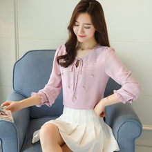New 2019 Fashion Chiffon Women Shirt Blouse Long Sleeves Red Women's Clothing Plus Size V-neck Beading Women Top Blusas red round neck flared sleeves blouse