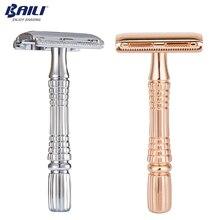 BAILI Upgrade rasatura a umido rasoio di sicurezza doppio bordo rasoio maniglia barbiere uomo manuale cura della barba donna depilazione con lama libera