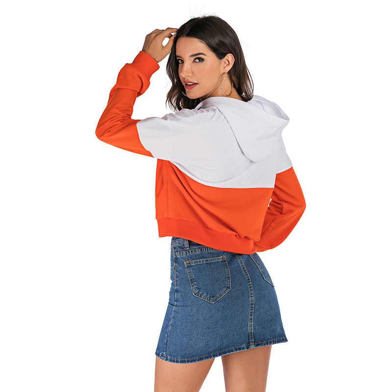 2019 Primavera de Moda de Nova Laranja e Branco Cor Feitiço Patchwork Hoodies Mulheres Agasalho Moletom Com Capuz Moleton Feminino