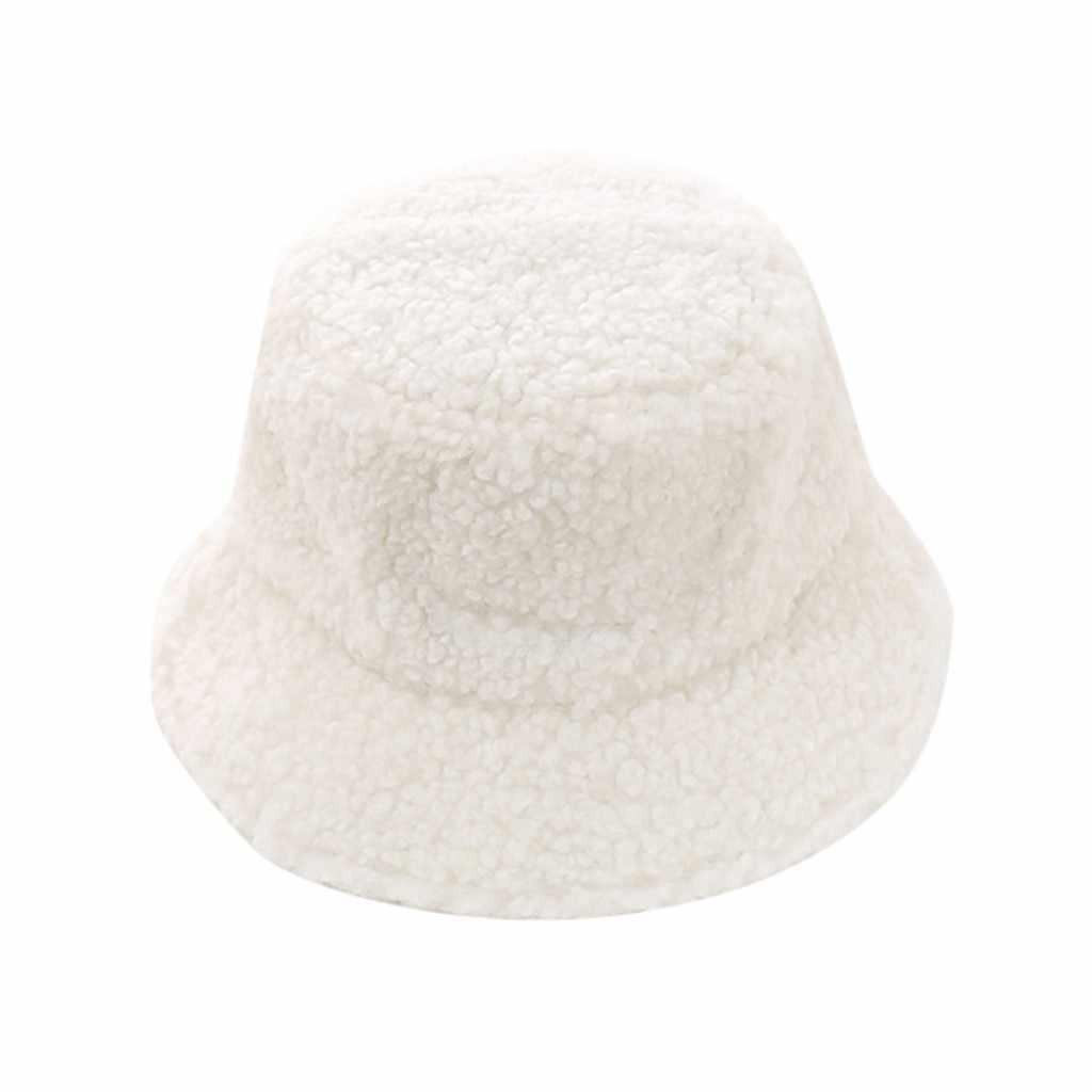 Chapéu de balde de pele do falso para as mulheres menina moda sólida engrossado macio quente boné de pesca ao ar livre senhora pelúcia macio chapéu liso 2020