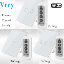 Vrey EU Smart Touch Switch,remote control wall switch,AC110V-220V light switch,Tempered Glass Crystal Panel and  1-3 gang 1 way цена 2017