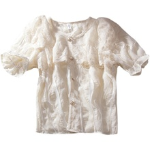 French lace round neck short-sleeved shirt women 2021 summer new style Korean design single-breasted trumpet sleeve top