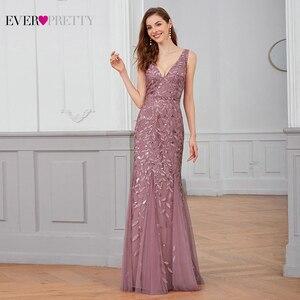 Image 1 - Sexy Sequined Mermaid Prom Dresses Long Ever Pretty V Neck Sleeveless Elegant Women Formal Party Dresses Vestidos De Gala 2020