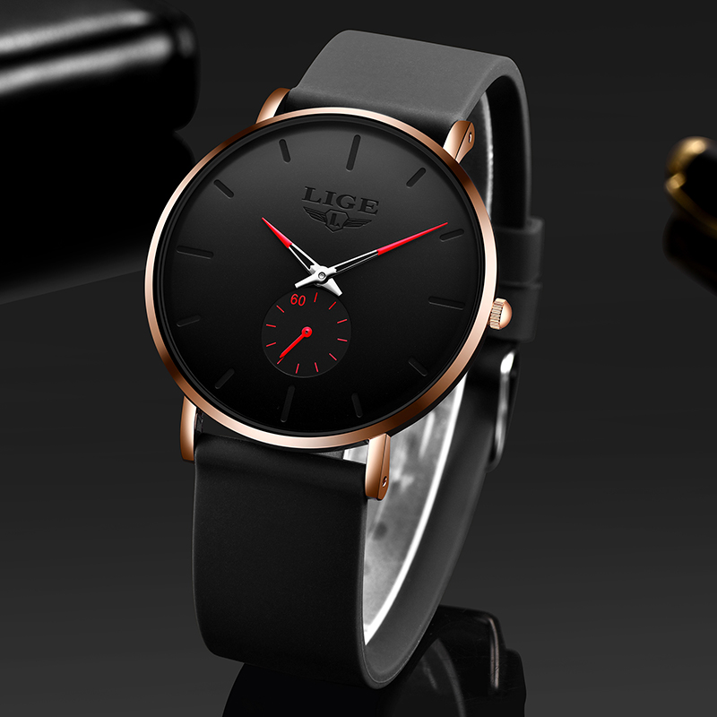 2020 LIGE Top Brand Luxury Watches Men Silicone Strap Ultra Thin Watches Men Classic Quartz Men's Wrist Watch Relogio Masculino