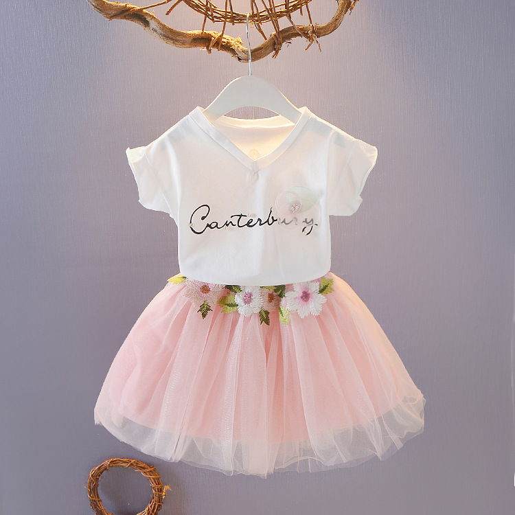 1 2 3 5 7 Years Girls Clothes Children Tutu Skirt Cloth Sets Girls Boutique Outfits Two Piece Children Clothing Set Summer 2020
