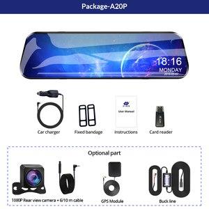 Image 5 - E ACE 10 дюймов сенсорный автомобильный видеорегистратор потоковое медиа зеркало видеорегистратор FHD 1080P видеорегистратор двойной объектив Поддержка 1080P камера заднего вида GPS