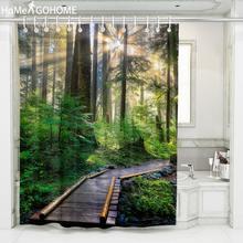 3D Bathroom Decor Umbria Sunlight Forest Shower Curtain Landscape Waterproof Fabric Bath Toilet Curtain Screen Sheer With Hooks beach sunlight waterproof shower curtain