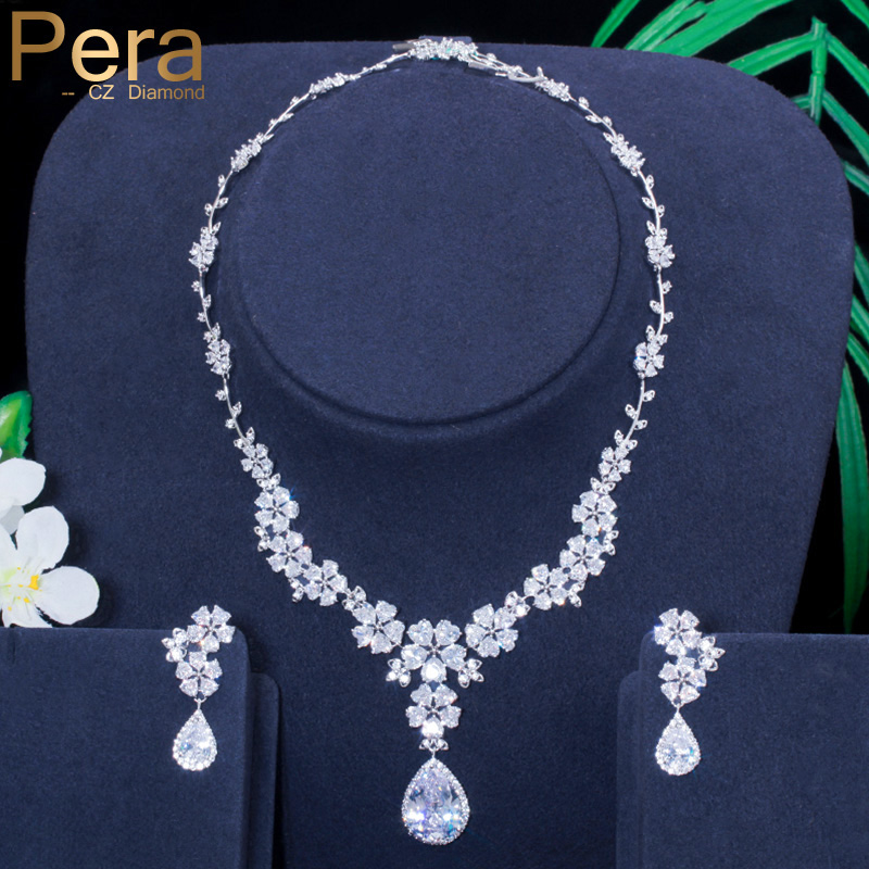 Pera Brand Classic Wedding Jewelry Long Big Flower Water Drop Necklaces and Earrings Sets for Brides with Cubic Zirconia J058