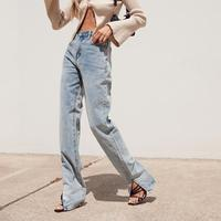 Straight Jeans for Women High Waist Classic Retro Sexy Boyfriend Pants  Blue Loose Splits at Ankles Mom Denim  Long Pante