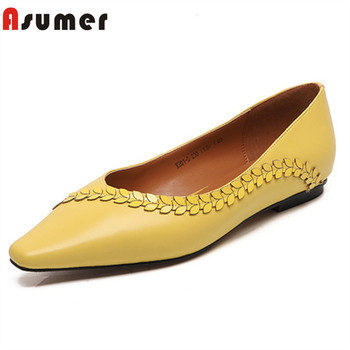 ASUMER 2020 new arrive genuine leather shoes women spring summer single shoes slip on comfortable casual flat shoes female