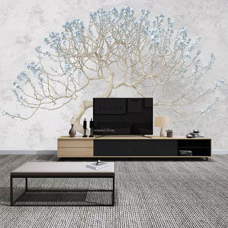 Seamless 3D Simple European Style Elegant Abstract Trees Living Room Television Background Wall Sofa Bedroom Wall Cloth Wallpape