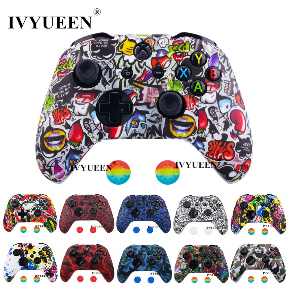 IVYUEEN Water Transfer Printing Camo Silicone Cover Skin For Xbox One X S Controller Protector Case With Joystick Grips