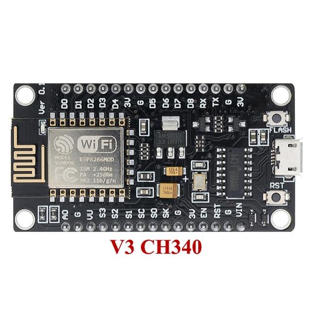 NodeMcu Placa de desarrollo WIFI V3 Lua, 10 unids/lote, basado en Internet ESP8266 ESP12E CH340