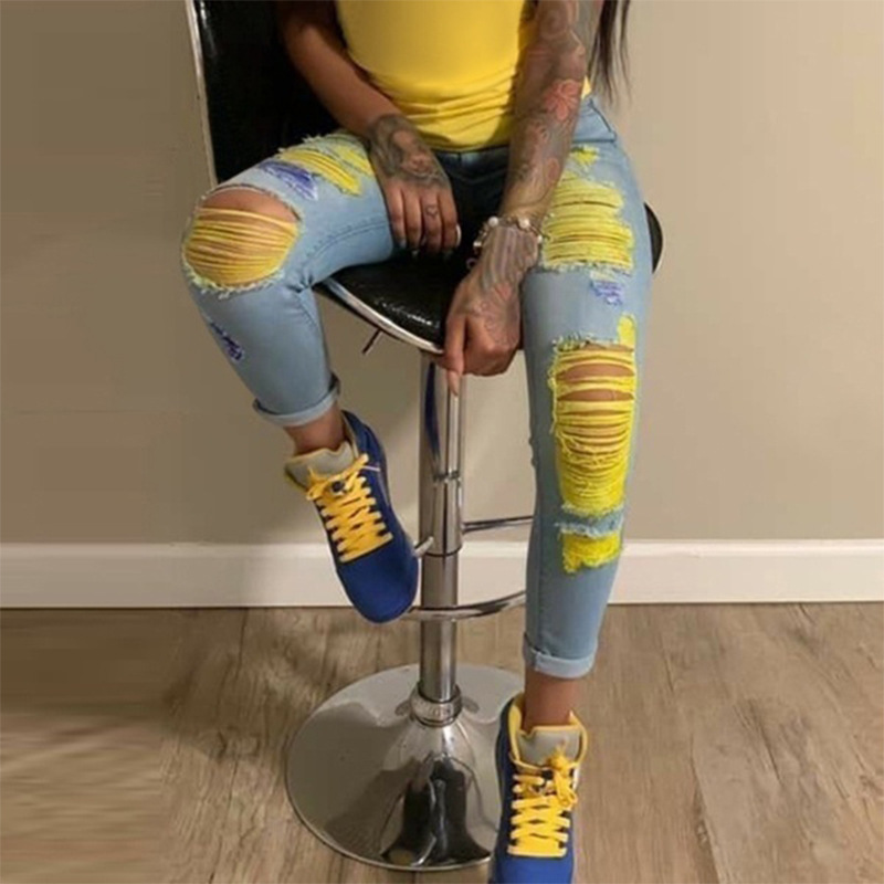 Ripped Jeans Pants Pencil Denim Trousers Skinny Sexy Hollow-Out High-Waisted Fashion
