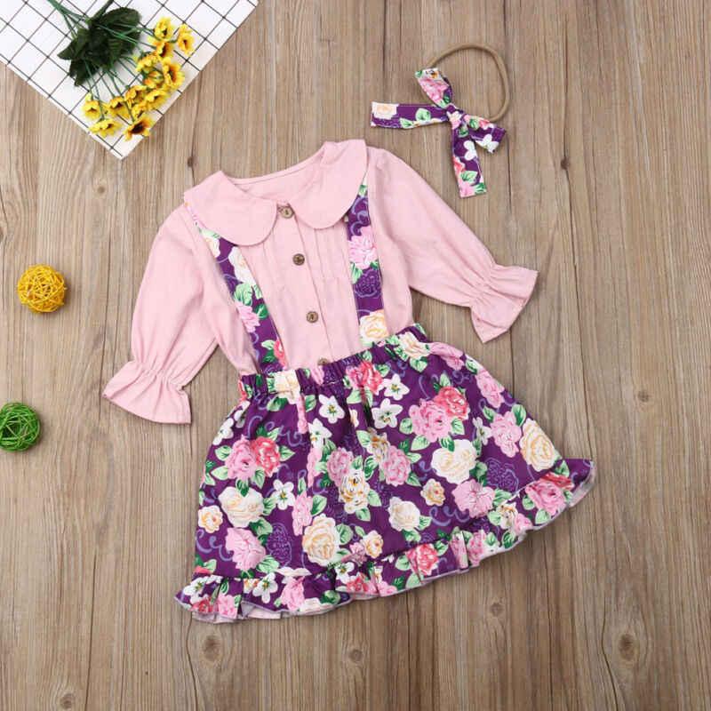 CA Kleinkind Baby Mädchen Langarm Tops Shirt Floral Bib Kleid Rock Outfit Set