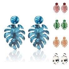 Leaf Women Earrings Female 2019 Coconut Tree Leaves Big Drop Acrylic Oorbellen Personalized Tortoiseshell Dangle