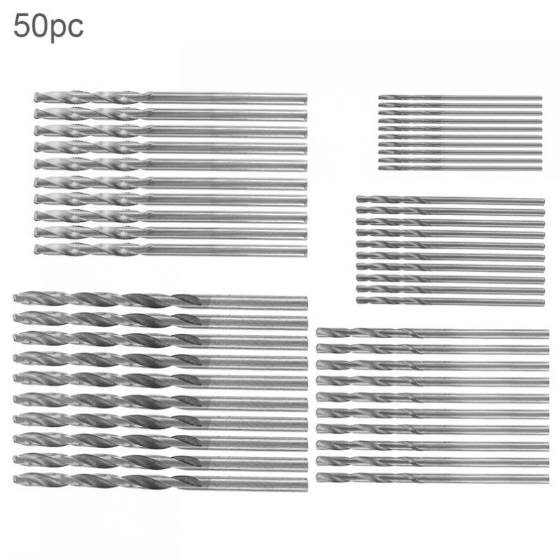 50pcs/lot Drill Bit Metric HSS Twist Drill Bits Coated Set 1.0MM - 3.0MM Drill Set Small Cutting Resistance for Hole Punch