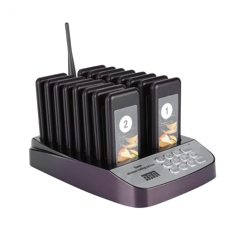 Buscapersonas de llamada para restaurante de SU-66, buscapersonas de llamada inalámbrica con 16 receptores, compatible con equipos de restaurante de colas de 999 canales