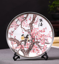 Spring festival picture decoration plate ceramic ware, pastel sitting plate hanging plate, modern Chinese style home furnishings(China)