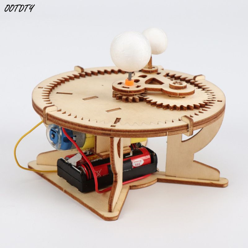 3D Wooden Assembly Puzzles Kids Children DIY Sun Earth Moon Model Educational Toys Three Globes Geography Scientific Experiment