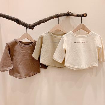 5398 prosta moda dla dzieci z długim rękawem t-shirty dla dzieci chłopcy bawełniane ubrania t-shirty dla dzieci koszulki z literami Tees Kids Girl Clothing tanie i dobre opinie happytom Na co dzień COTTON Pasuje prawda na wymiar weź swój normalny rozmiar List O-neck Pełna Unisex