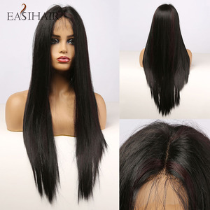 EASIHAIR Long Straight Black Lace Front Synthetic Wig with Baby Hair Lace Frontal Wigs for Women High Density Heat Resistant Wig