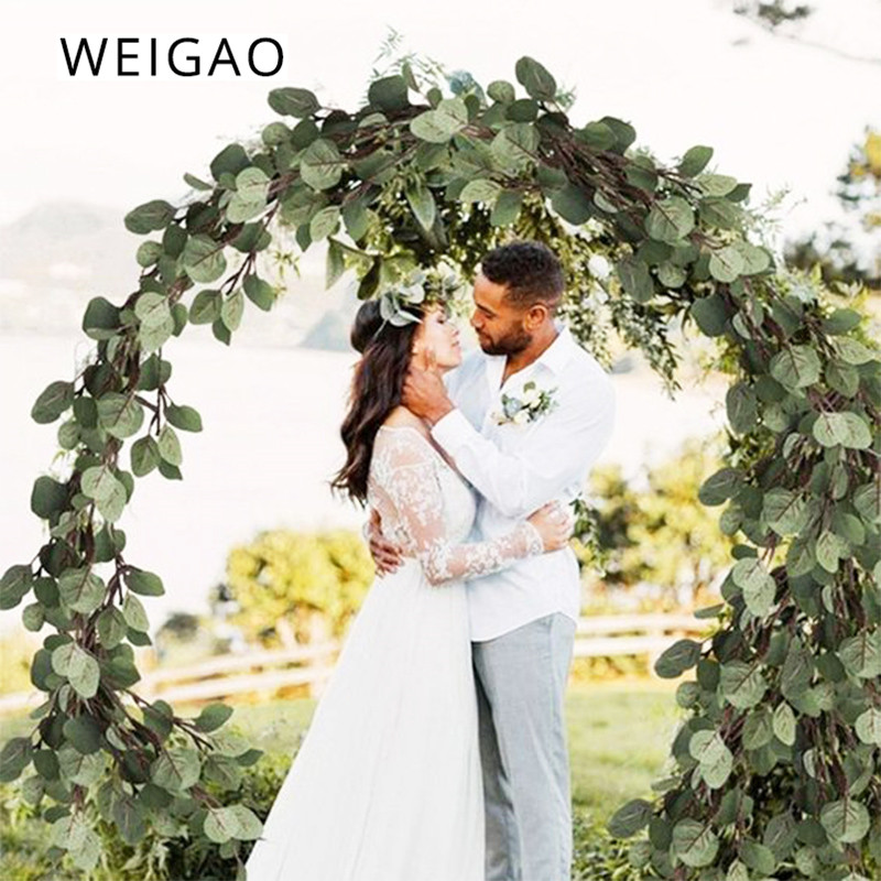 WEIGAO 2m Wedding Decoration Backdrop Eucalyptus Garlands Artificial Plant Leaves Vines Wall Hanging Garland Wedding Table Decor