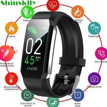 2021 inteligentna bransoletka do zegarka termometr do pomiaru temperatury ciała ciśnienie krwi bransoletka Fitness wodoodporny zegarek sportowy smartband dla kobiet mężczyzn